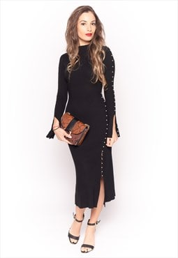 Soft knit Maxi Dress with Pearl Embellishment in black