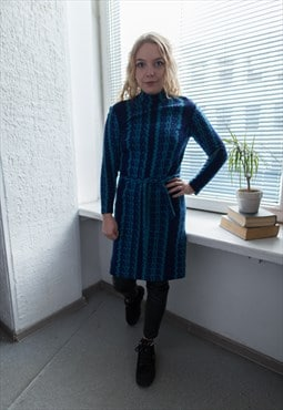 Vintage 70's Blue Patterned Wool High Collar Dress