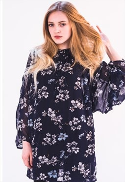 Navy blue Multi floral print chiffon maxi flowy shirt dress