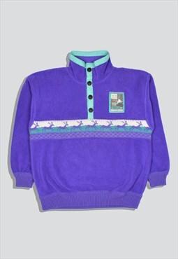Vintage 90s Colour Block Popper Fleece in Purple