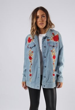 Vintage Denim Jacket Oversized Embroidered UK 16 XL  (JQDF)