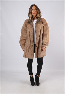 Sheepskin Suede Leather Shearling Coat UK 18 XXL (KJBJ)
