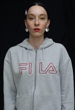 Vintage FILA unisex grey Spellout Full Zip Hoodie
