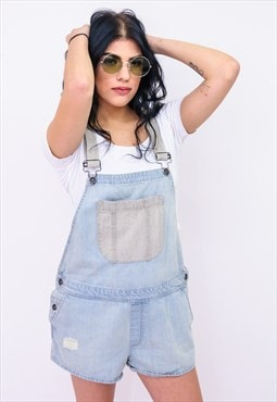 Vintage VANS Denim Short Overall Dungaree Light Blue B436