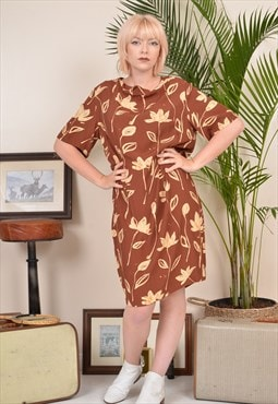 Vintage 90s Patterned Summer Tropical Shift Dress Brown