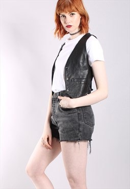 Vintage 80s Black Leather Mini Popper Waistcoat Top