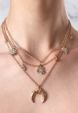 Allegra: Layered Gold Star Horn Necklace