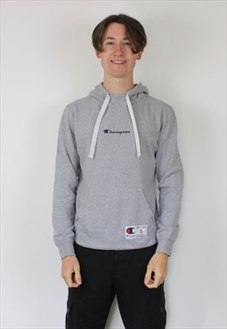 Vintage Champion Hoodie in Grey with Rubber Patch Logo