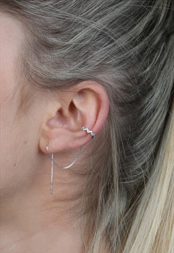 Sterling Silver Ear Thread With Cuff