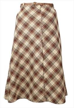 Vintage 70s Mod Check Print High Waisted Belted Midi Skirt