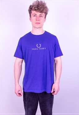 Vintage Fred Perry Embroidery T-Shirt in Blue