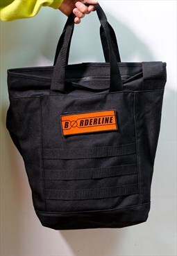 Utility tote bag orange patch