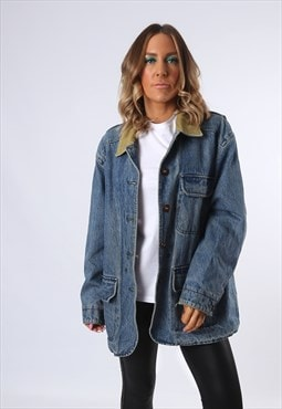 Denim Jacket LINED Oversized Fitted UK 14 (E43N)
