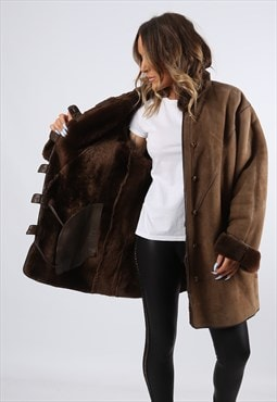 Sheepskin Suede Leather Shearling  Coat UK 20 (LH4O)