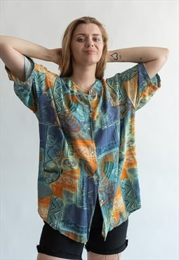 Vintage 80s funky hawaii shirt in boho pattern