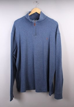 Vintage Mens Blue Ralph Lauren Quarter Zip Jumper