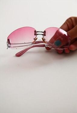 Vintage Silver Rimless Frame, Pink Lenses