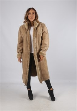 Vintage Sheepskin Suede Shearling Coat Long UK 12 - 14 (K9BJ