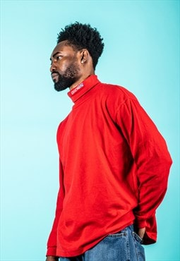 Vintage Turtle Neck Jumper Red with Embroidery Logo