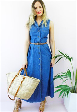 Vintage 80's Denim Blue Sleeveless Maxi Shirt Dress