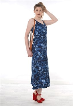 Vintage 90s Strappy Maxi Dress in Blue Floral Print