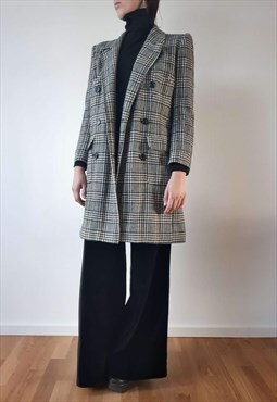80s Valentino Plaid Blazer Coat