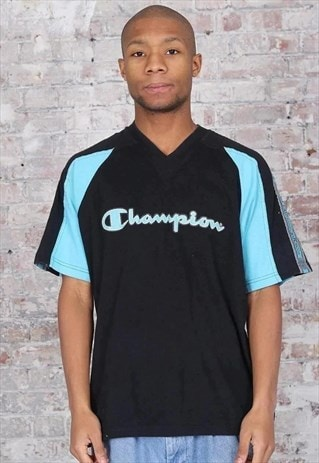 Vintage Champion Logo Tape T-Shirt Black