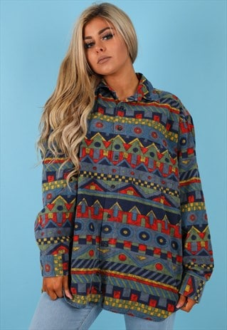 VINTAGE AZTEC PATTERN SHIRT IN MULTI NS213