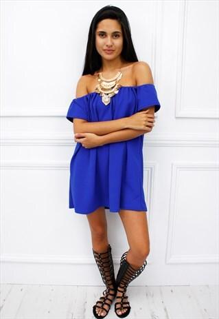 WOMENS LADIES BLUE OFF SHOULDER BARDOT PEASANT DRESS