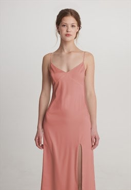 Satin slip midi prom cocktail evening dress
