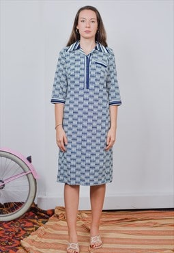 Polo dress vintage navy blue white collared short sleeve