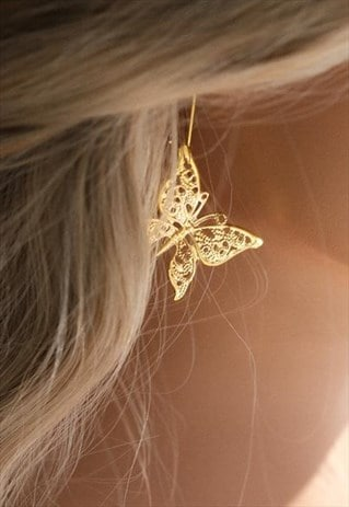 ADONIS GOLD BUTTERFLY DROP EARRINGS