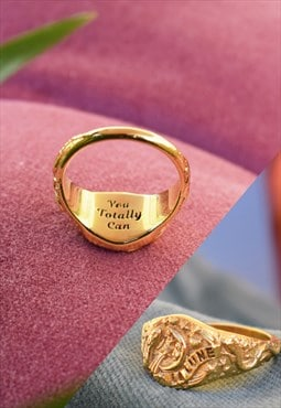 Gold Personalised Signet Ring with Celestial Moon Handmade