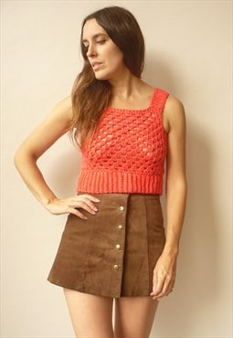 1970's Vintage Hand Crochet Coral Knitted Cropped Top