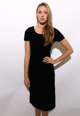 vintage 1990's 90's black velour stretch velvet dress M-L