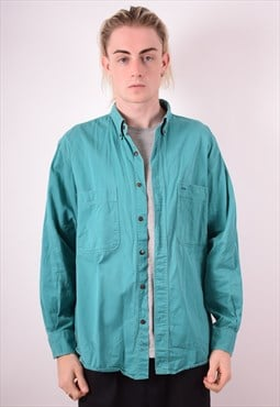 Mens Vintage Shirt Large Blue 90s