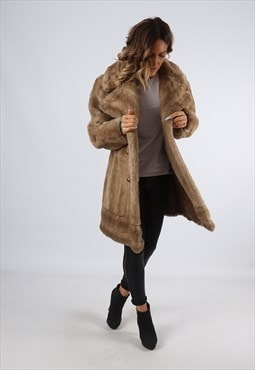 Faux Fur Coat Jacket Vintage UK 14 (A92K)