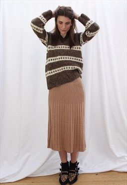 Vintage 80s knitted midi skirt with pleats