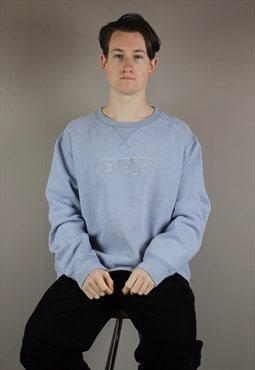 Vintage Gap Heavyweight Sweatshirt in Blue Grey with Embroid