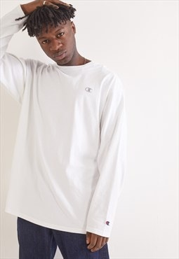 Vintage Champion Long Sleeve Top White