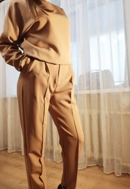 Dressy/casual crop, elastic back trouser - Cafe
