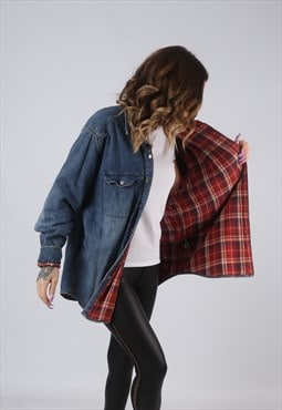 Denim Shirt Oversized Lined Tartan Checked UK 16 - 18 (KCV)