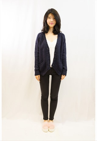 NAVY CABLE WITH FRONT POCKET CARDIGAN