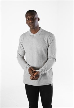 Essential Long Sleeve Collared Polo Shirt Top - Grey