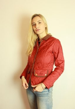 Vintage Barbour Red Quilted Jacket Coat w Tweet