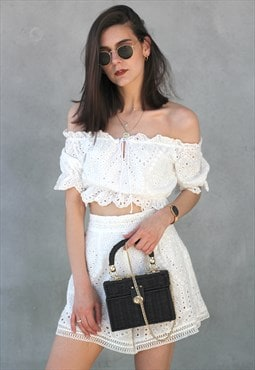 Crochet Top & Shorts Co-Ord Twin Set