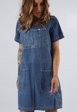 Vintage Denim Dress BICH REWORKED Dungarees UK 8 - 10 (DDC)