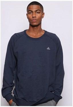 Vintage Adidas Embroidered Logo Sweatshirt Blue