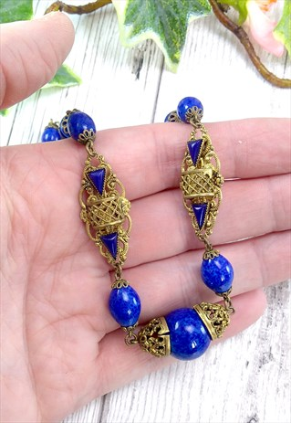 ART DECO BLUE PEKING GLASS CZECH NEIGER STYLE NECKLACE