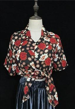 90s Black Vintage Patterned shirt
